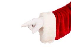 Hand van Kerstman het richten Stock Foto's