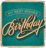 Hand-van letters voorzien uitstekende verjaardagskaart Royalty-vrije Stock Foto's