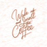 Hand-van letters voorziend citaat met schets voor koffiewinkel of koffie Hand getrokken uitstekende typografiesamenstelling Het v Royalty-vrije Stock Afbeelding