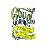 Hand-van letters voorziend citaat met schets voor koffiewinkel of koffie Hand getrokken uitstekende typografiesamenstelling Het v Stock Foto