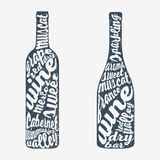 Hand van letters voorziende fles wijn Royalty-vrije Stock Afbeelding