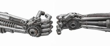 Hand van Metaalcyber of robot die van Mechanische pallen wordt gemaakt royalty-vrije stock afbeeldingen