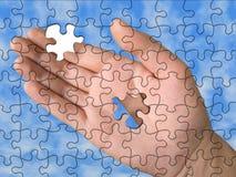 Hand van raadsel zonder één stuk Stock Foto