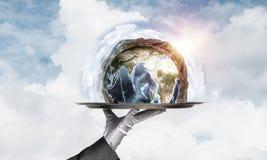 Hand van serveerster die Aardebol op dienblad voorstellen Stock Fotografie