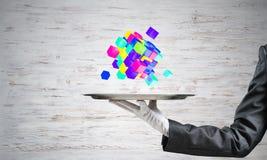 Hand van serveerster die kubussen op dienblad voorstellen Stock Foto's