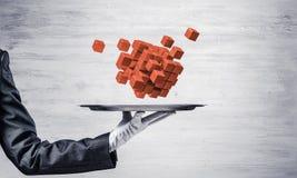 Hand van serveerster die kubussen op dienblad voorstellen Stock Afbeeldingen