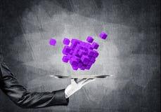 Hand van serveerster die kubussen op dienblad voorstellen Stock Afbeelding
