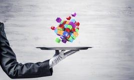 Hand van serveerster die kubussen op dienblad voorstellen Royalty-vrije Stock Afbeelding