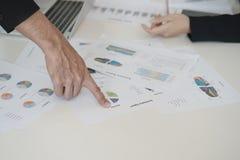 Hand van zakenliedenpunt aan grafieken bij bureau zij zijn bus royalty-vrije stock foto's