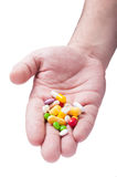 Hand with various pharmaceutics Royalty Free Stock Images