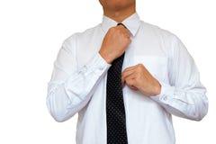 Hand vastgestelde stropdas Stock Foto's