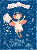 Hand vectorkerstmis en Nieuwjaarskaart met de engel wordt getrokken die Stock Fotografie