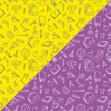 Hand velen wordt getrokken geïsoleerde de krabbel van het schoolmateriaal op punchy pastelkleurachtergrond, terug naar schoolthem royalty-vrije illustratie