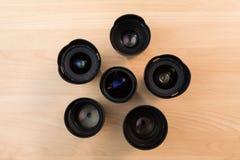 Hand verwisselbare lenzen voor digitale camera's Materiaal voor video die met digitale SLR-camera's schieten Royalty-vrije Stock Foto