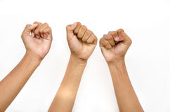 Hand for victory. Hand from children for victory on white background Royalty Free Stock Photography