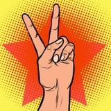 Hand victory gesture. Comic cartoon pop art retro vector illustration drawing stock illustration
