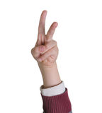 Hand with victory sign Stock Image