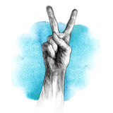 Hand with victory sign Stock Photography