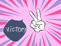 Hand victory. Victory symbol on a retro rays background Stock Photos