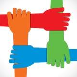 Hand vier verbinden sich Stockbilder