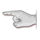 Hand, vinger en nota Stock Foto's