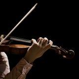 Hand violinist closeup Stock Photo