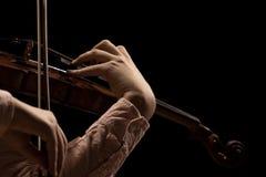Hand violinist closeup Stock Images