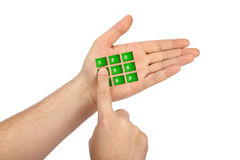 Hand with virtual phone buttons Stock Photography