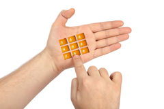 Hand with virtual phone buttons Royalty Free Stock Images