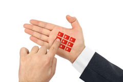 Hand with virtual phone buttons Stock Photo