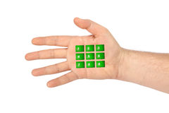 Hand with virtual phone buttons Royalty Free Stock Photography