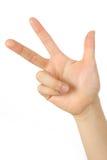 Hand visat finger tre arkivbild