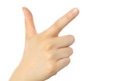 Hand visat finger tre Royaltyfria Bilder