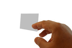 Hand and visit card. Hand and blank visit card isolated on white royalty free stock images