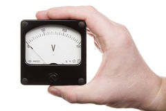 Hand with voltmeter 2. Man's hand holds a voltmeter. Isolated on white [with clipping path royalty free stock photo