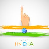 Hand with voting sign of India Stock Image