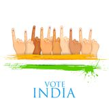 Hand with voting sign of India. Illustration of hand with voting sign of India Royalty Free Stock Photos