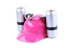 Hand vrije helm voor drank roze kleur stock foto's