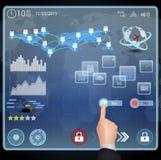 Hand wählen ja auf virtuellem Schirm Lizenzfreies Stockbild