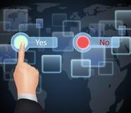 Hand wählen wie auf virtuellem Schirm Stockfotos