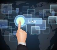 Hand wählen wie auf virtuellem Schirm Lizenzfreies Stockfoto