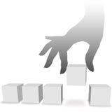 Hand wählt eine Auswahl von 1 von 5 copyspaces aus Stockfoto