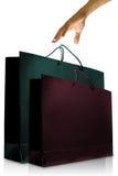 Hand wünschte die bunte Glasurpapier-Einkaufstasche Stockbild