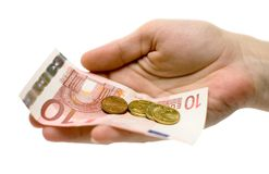 Hand w/ Change royalty free stock images