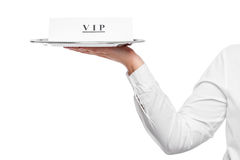 hand waiter with tray close-up and announcement VIP Stock Photography
