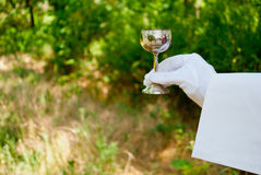 Hand of a waiter in a white glove holds a metal glass in the nature Stock Photos