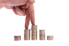 hand walk on money stock photography