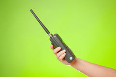 Hand with the walkie-talkie Stock Photos