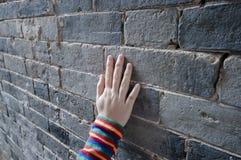 Hand on wall Stock Photos