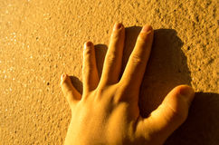 hand on the wall Royalty Free Stock Images